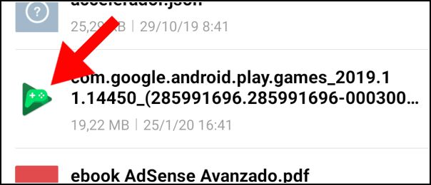 abrir APK Google Play Juegos