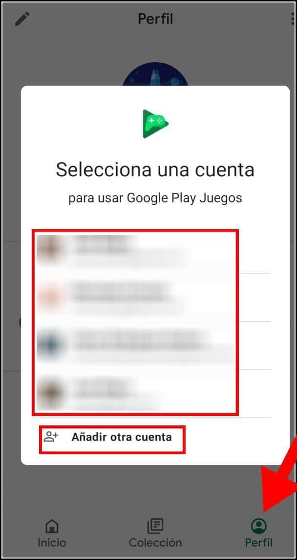 Cambiar cuenta de Google Play Juegos