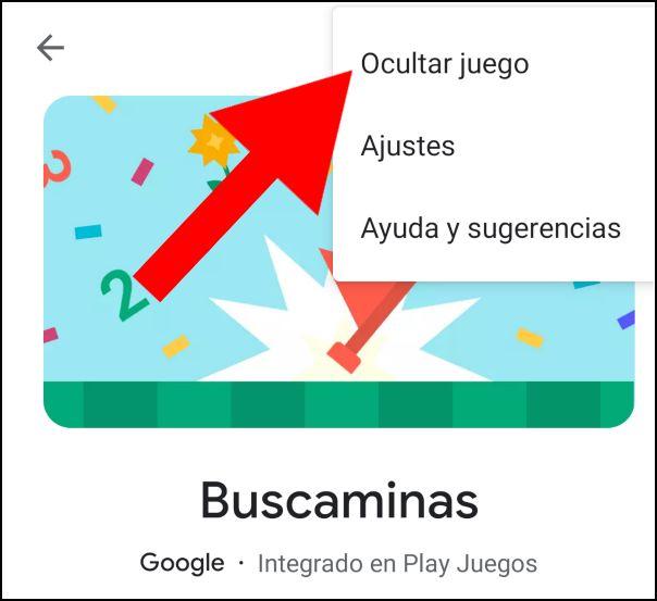 ocultar juego en Google Play Juegos