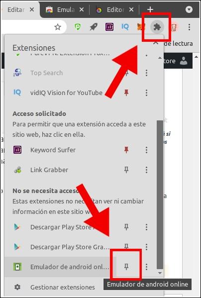 fijar extensión a Chrome