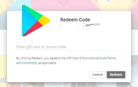 play store redeem code