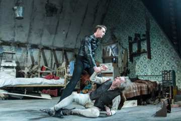 George MacKay (Mick), Timothy Spall (Davies) in The Caretaker at The Old Vic. Photo by Manuel Harlan. (6)