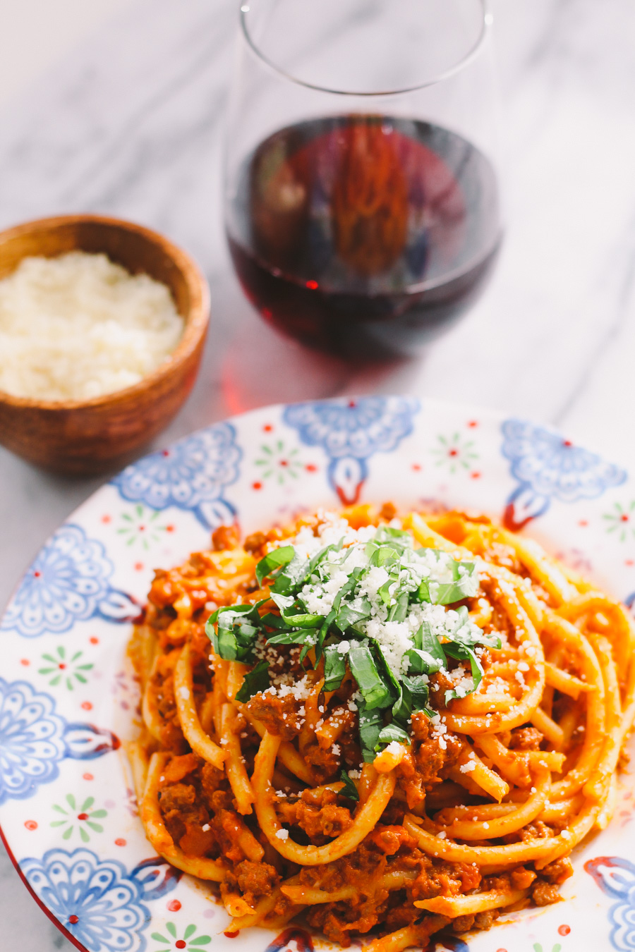 """pasta bolognese with bucatini via playswellwithbutter 