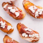 summer crostini with prosciutto, goat cheese, & homemade cantaloupe jam