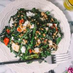 kale salad with grilled lemon chicken, asparagus, farro & goat cheese