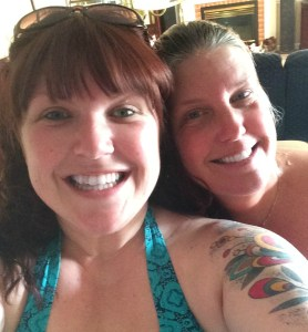 My mom and I getting ready to go jump in the pool!