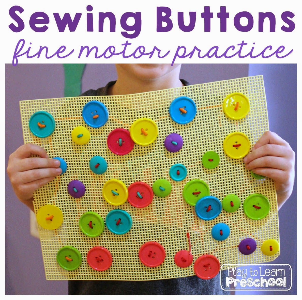Sewing Buttons Fine Motor Practice