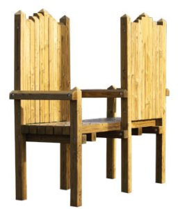 wood playground throne chairs