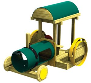 wood playground tractor