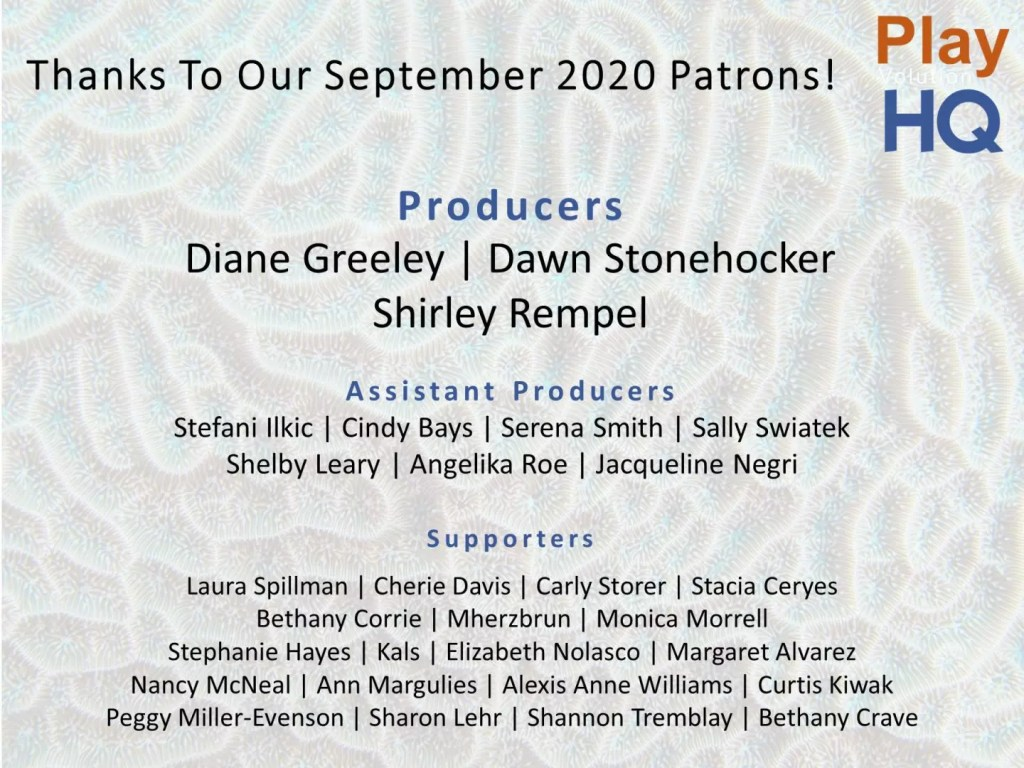 Thanks To Our September 2020 Patrons