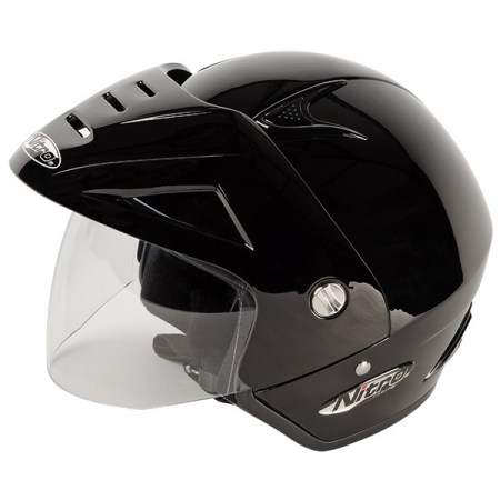 Nitro X512-V Open Face Motorcycle Helmet Gloss Black