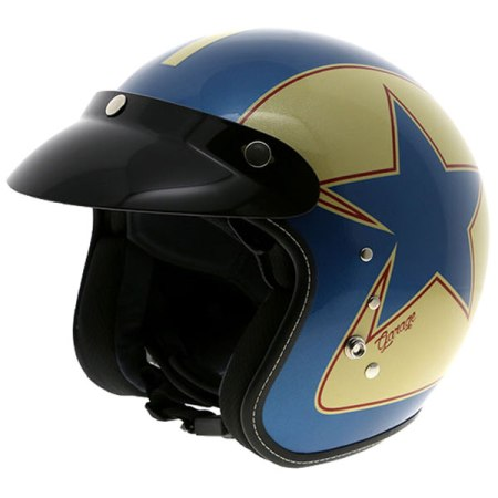Duchinni D501 Garage Open Face Motorcycle Helmet Blue