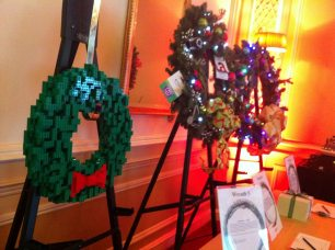 Our donated LEGO Wreath was up for auction next to these other Christmas Wreaths.