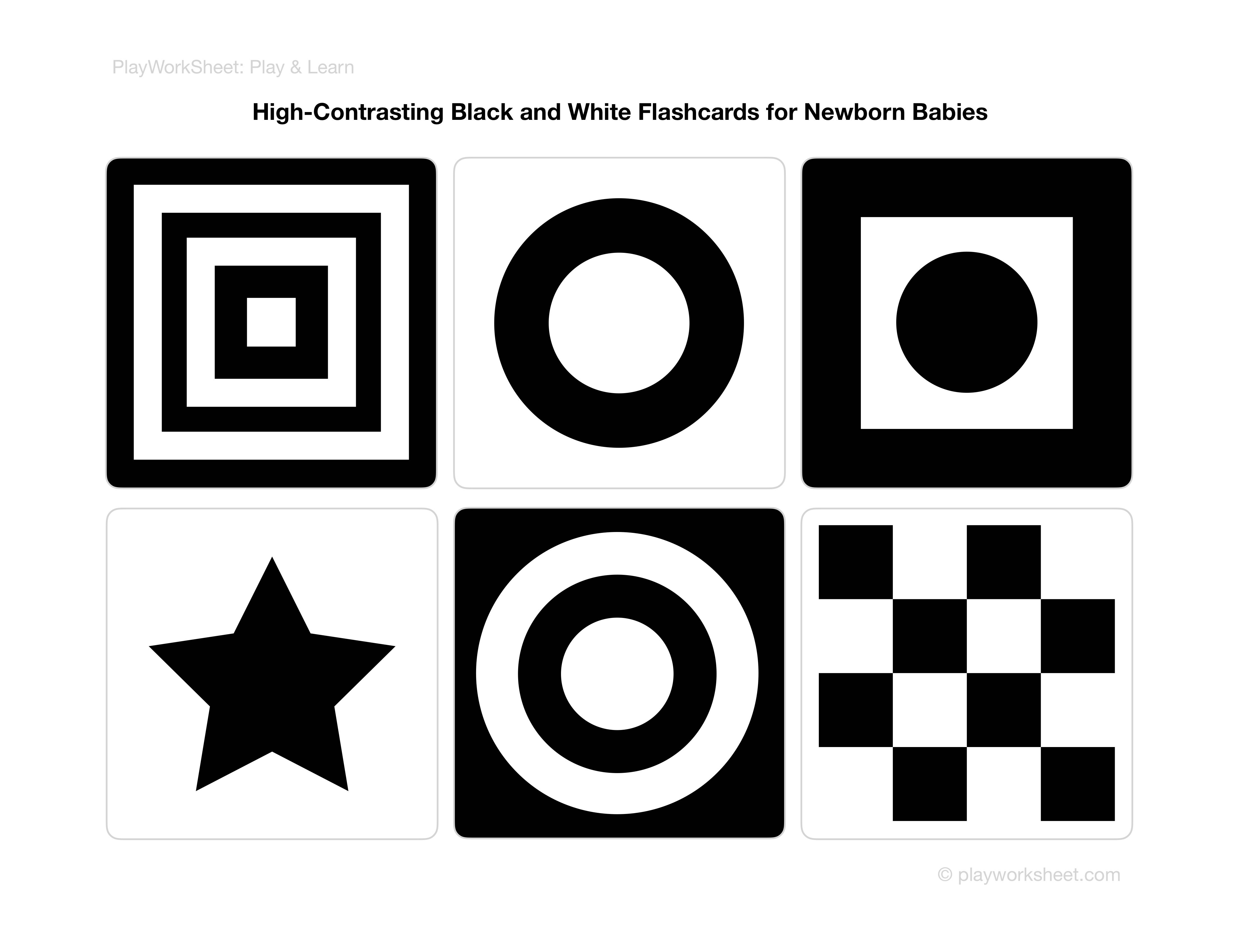 High Contrasting Black And White Flashcards For Newborn