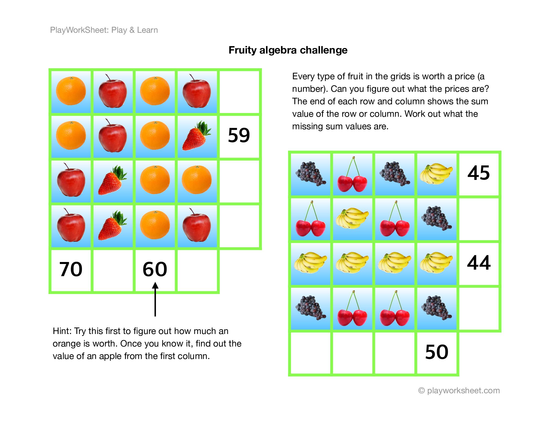 A Fruity Challenge Using Simple Algebra