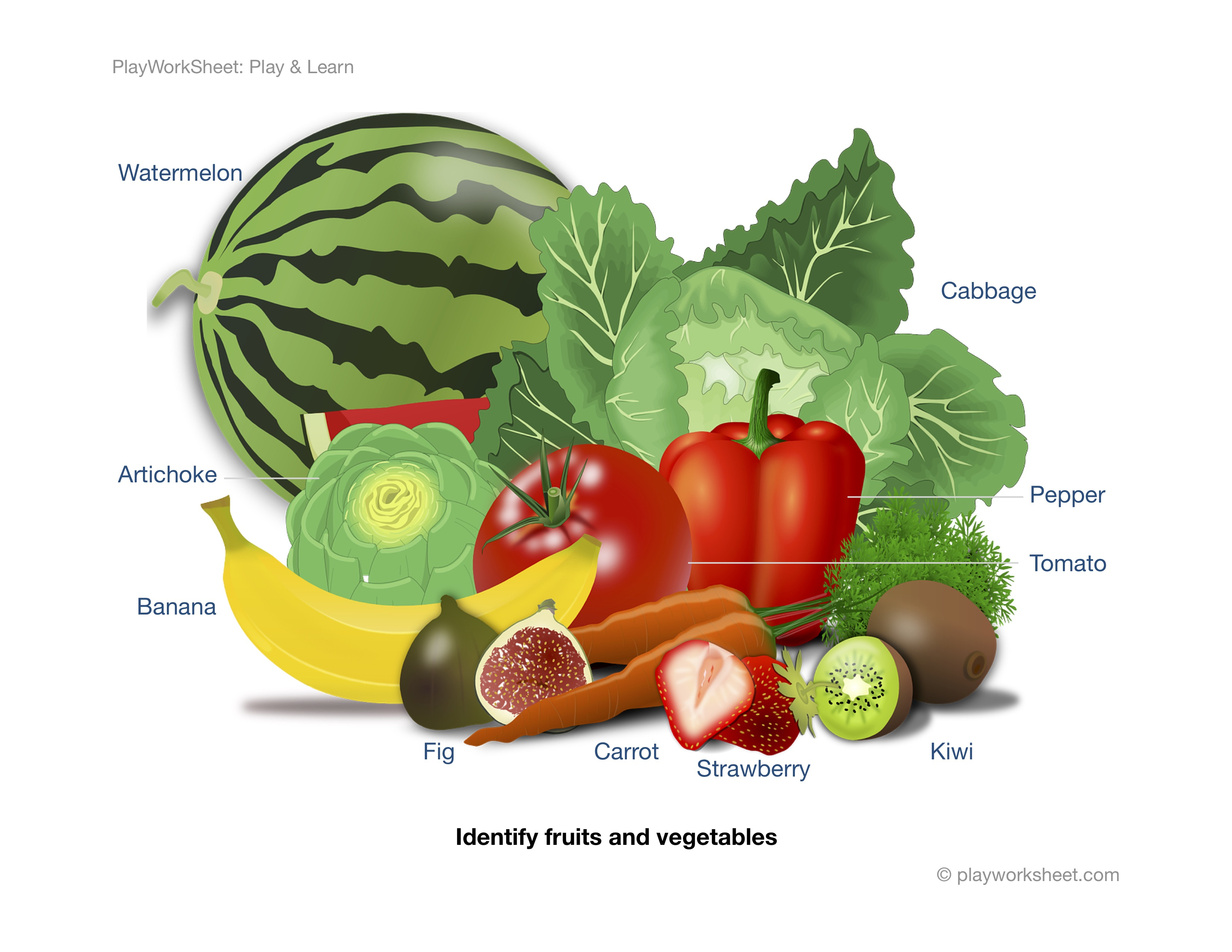 Identify Various Fruits And Vegetables From An