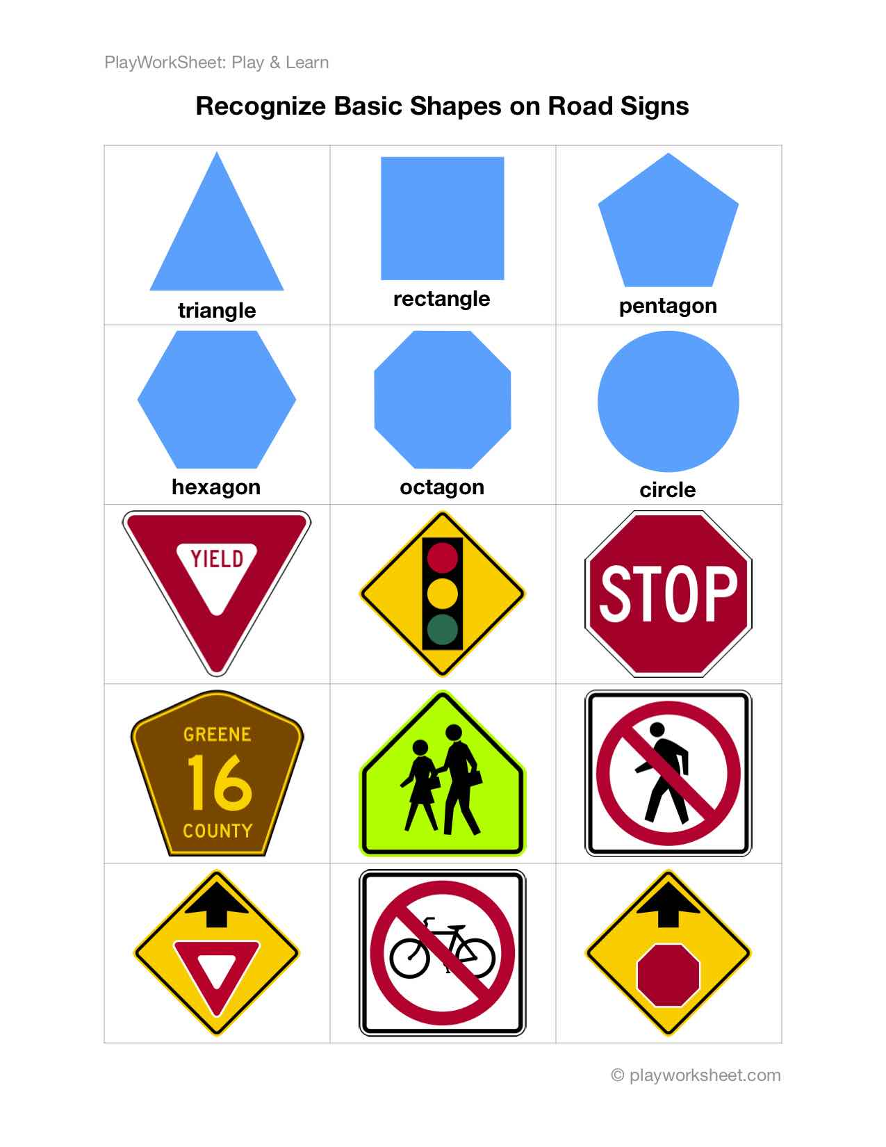 Recognize Basic Shapes On Various Road Traiffic Signs