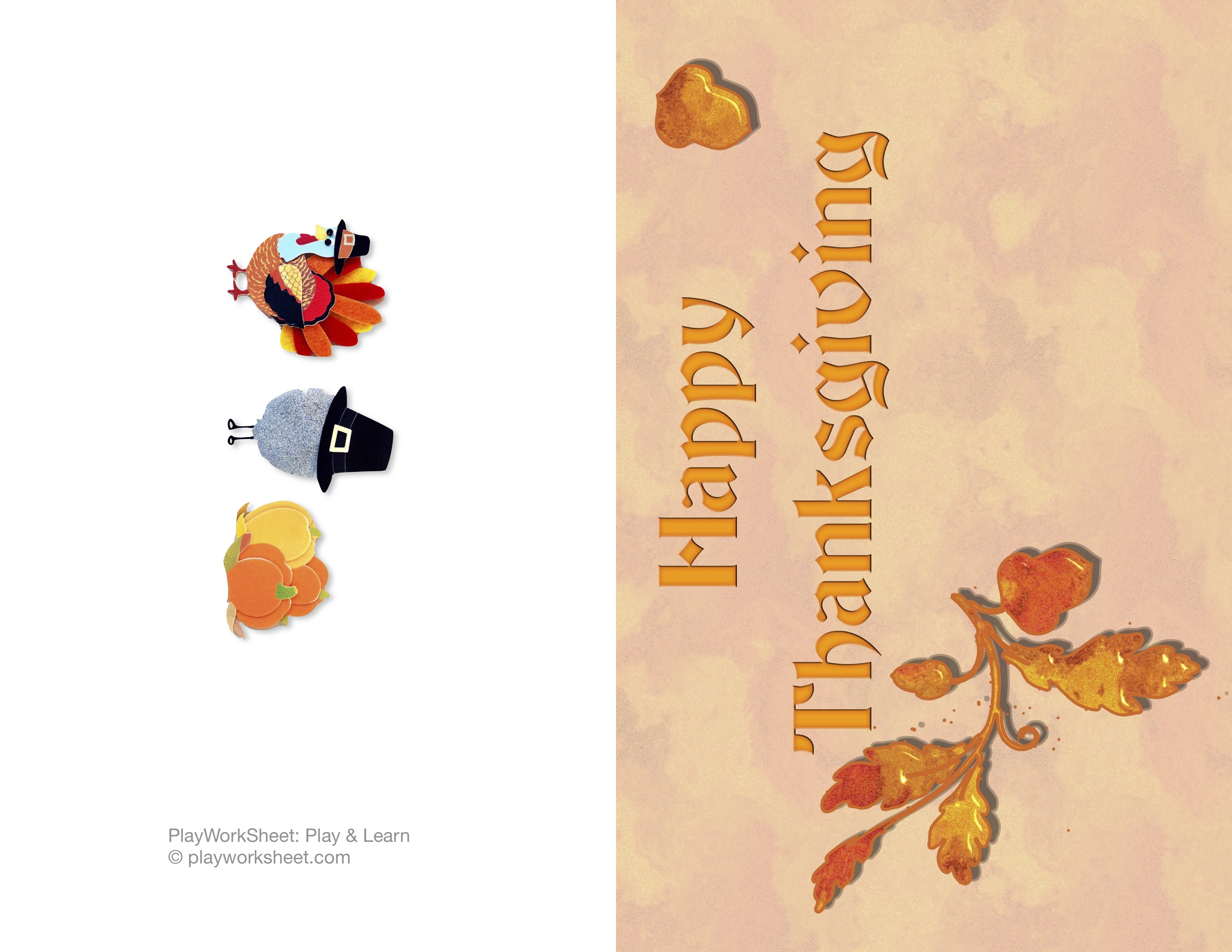 Happy Thanksgiving Card Featuring Oak Leaves And Acrons