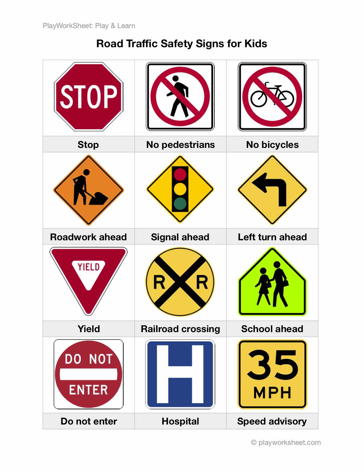 Road Traffic Safety Signs For Kids Free Printable Worksheets For Kids