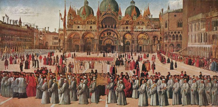 """Procession of the True Cross in Piazza San Marco"" (1496) by Gentile Bellini"