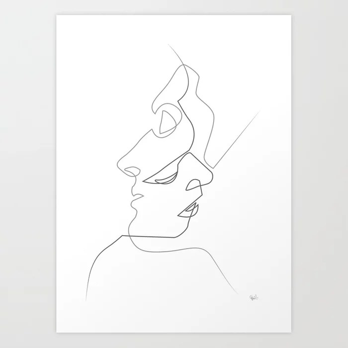 Sunday's Society6 | Black and white line drawing, art print