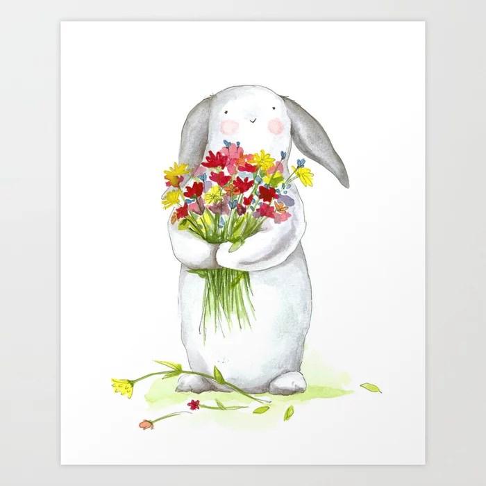 Sunday's Society6 | Flower bunny art print