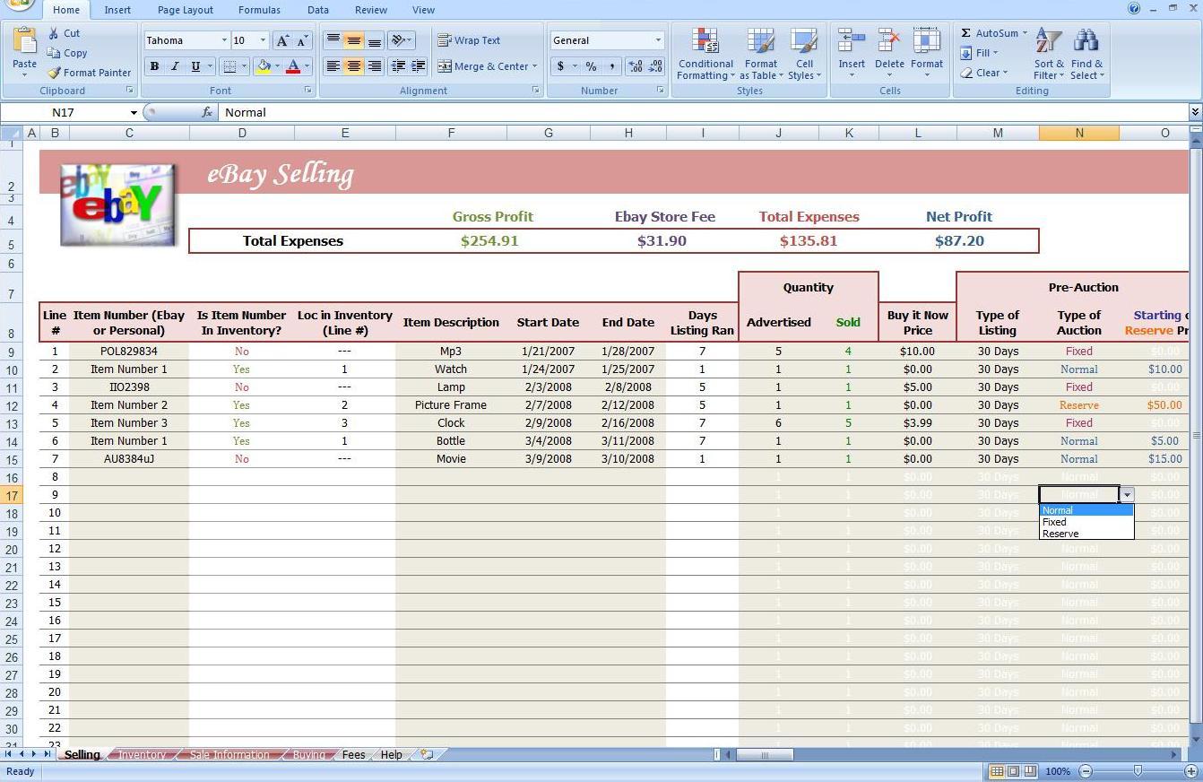 Ebay Store Spreadsheet