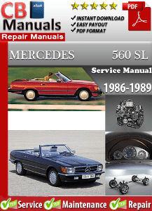 Mercedes 560sl 1986 1989 workshop service manual for 1987 mercedes benz 560sl owners manual