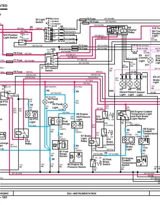 john deere 4100 tractor wiring diagram  for 7 pin trailer