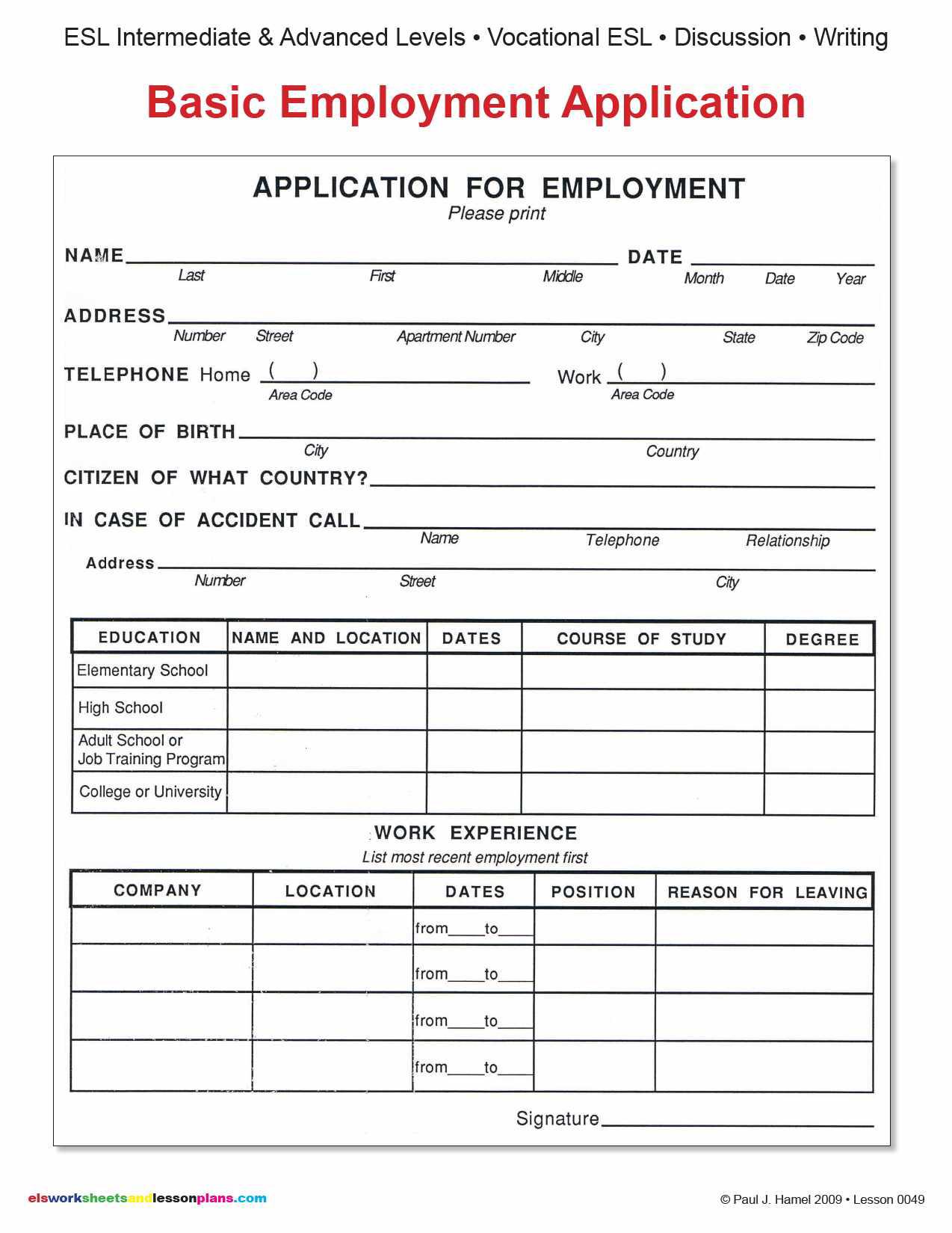 Employment Application June