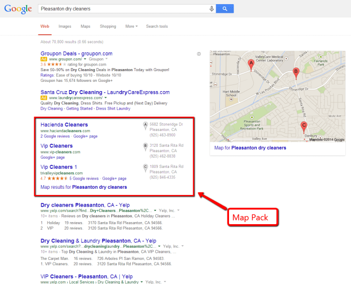 pleasanton dry cleaner map pack SEO