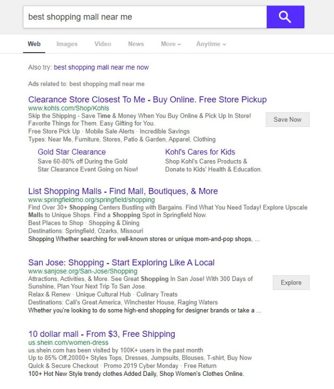 Yahoo search engine results
