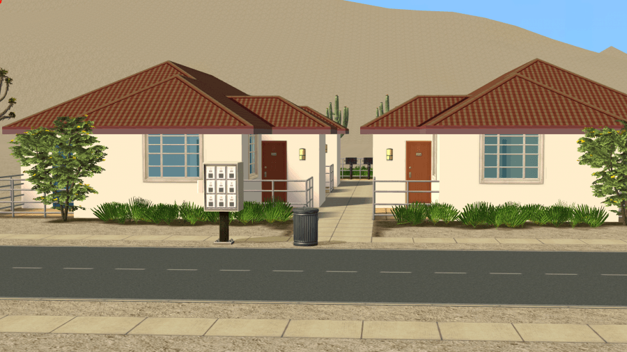 Download The Sims 2 Strangetown Arms Apartments - Desert Terrain - The Perfect Apartment Complex to place in Strangetown.