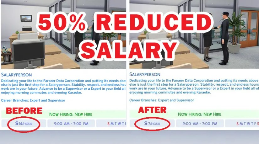 Sims 4 Reduced Salary mod