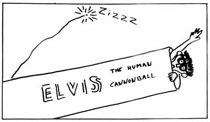 Elvis Costello as the Human Cannonball by Legs McNeil ©