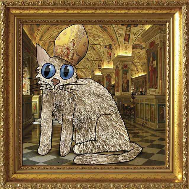 David Yow's mixed media cat from his book, Copycat.