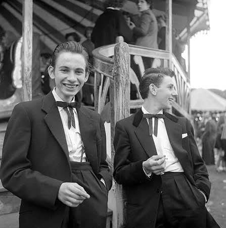 Teddy Boys at the fairgrounds in 1955.