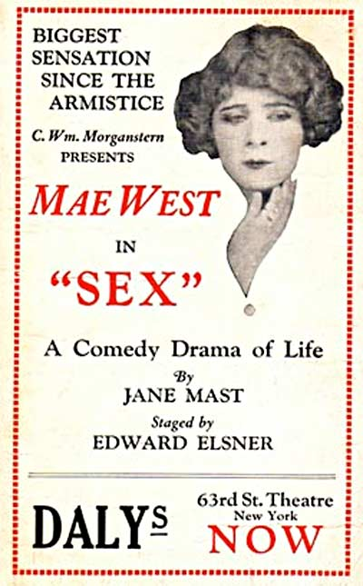 """Poster for Mae West in """"SEX"""""""