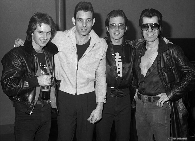 40 years ago in New Haven: Anton Fig, Robert Gordon, Rob Stoner, Link Wray. Tom Hearn photo