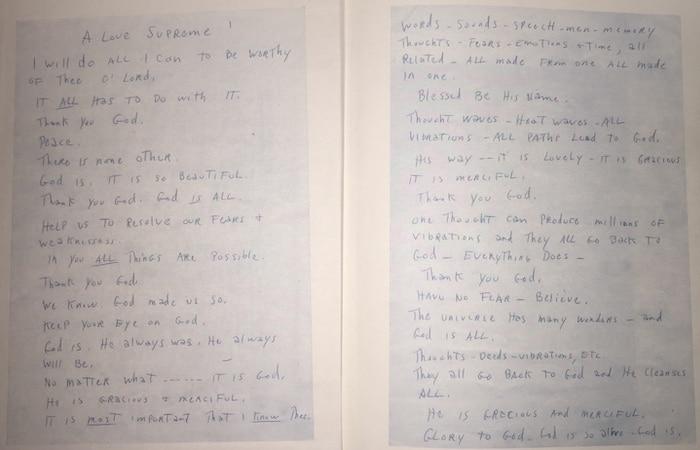 A Love Supreme hand written by Coltrane.
