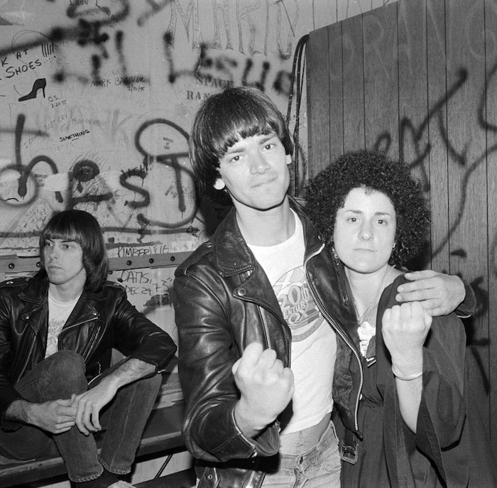 Johnny Ramone, Dee Dee Ramone, and Jenny Lens at The Whisky Feb. 1977
