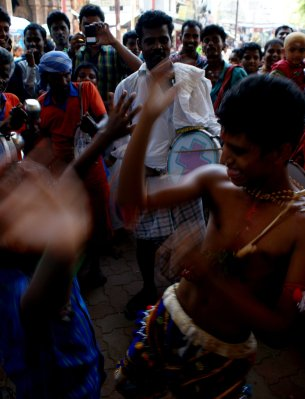Dancing and music outside temple