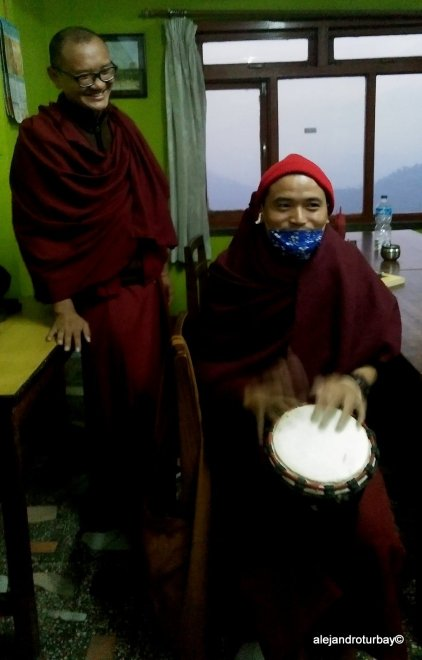 Some monks at monastery at Namo Buddha having fun with my drum