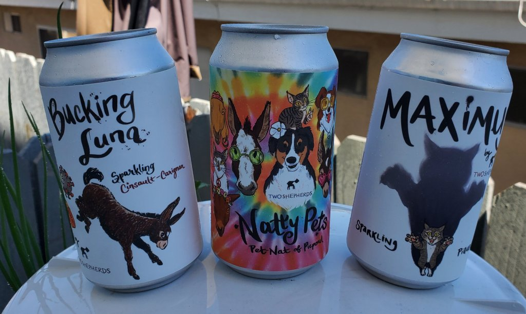 Please The Palate Wine of the Week: Two Shepherds 2020 Canned Wines (Bucking Luna, Maximus Piquette and Natty Pets Pet Nat)