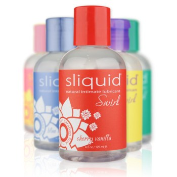 six bottles of Sliquid Naturals Swirl flavoured lubricants