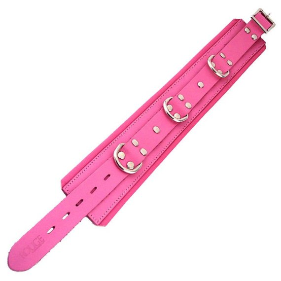 Rogue Garments pink leather collar with three D-rings