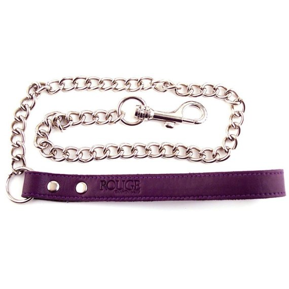 Rouge Garments metal chain lead with purple leather handle