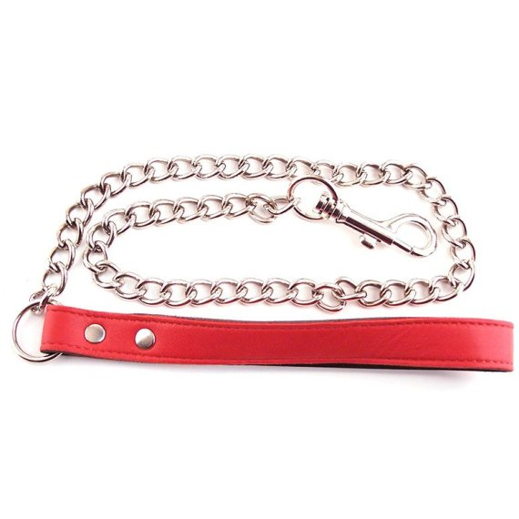 Rouge Garments metal chain lead with red leather handle