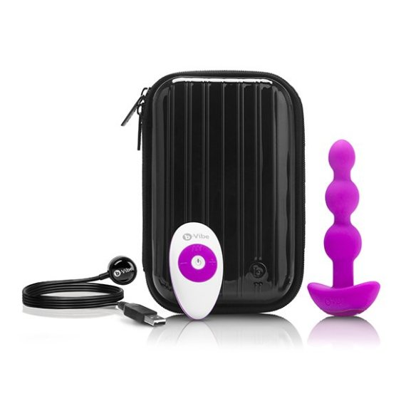 Pink B-Vibe Triplet vibrating silicone anal beads with its hard shell zip up case, remote control and USB charging cable