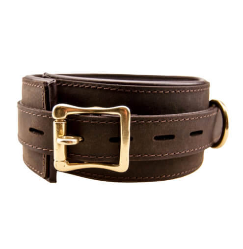 Bound Nubuck brushed brown leather BDSM Collar showing fastening buckle